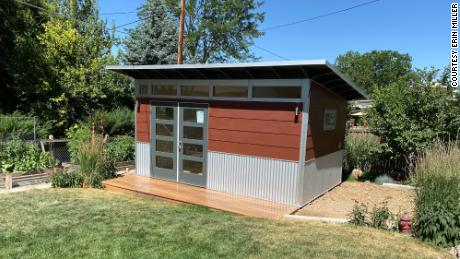 Erin Miller ordered this shed kit in mid-May and by early July she had a new space in her backyard to use as an office.