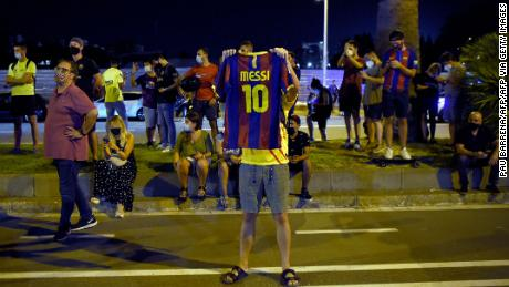 Barcelona supporters gather outside the Camp Nou to show their displeasure with Bartomeu.