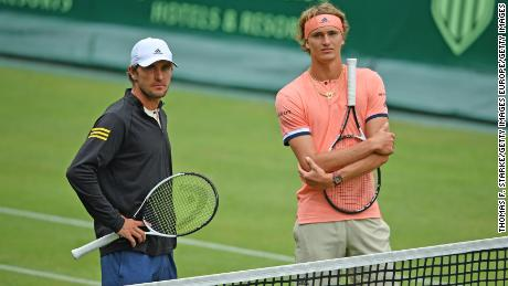 """Zverev's brother Mischa (left) says their """"whole family's concern"""" is Alexander returning home healthy rather than how far he makes it in the US Open."""