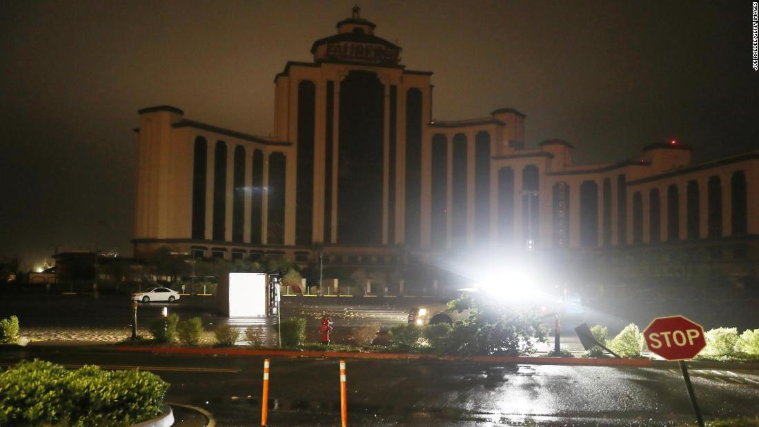 The L'Auberge Casino Resort is seen after the lights went out in Lake Charles.