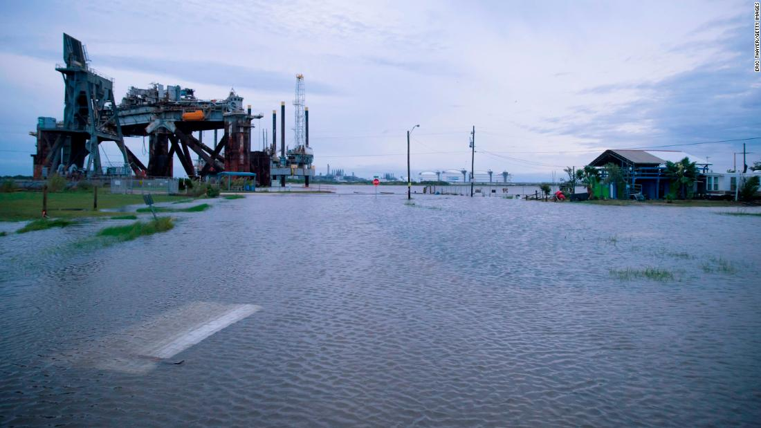 Flooding is seen in Sabine Pass, Texas.