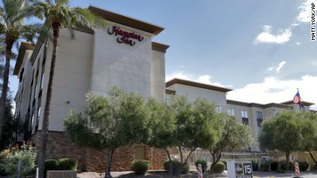 A Hampton Inn is shown Tuesday, July 21, 2020 in Phoenix. Court records describe it as one of more than 25 hotels in the US where migrant were detained.