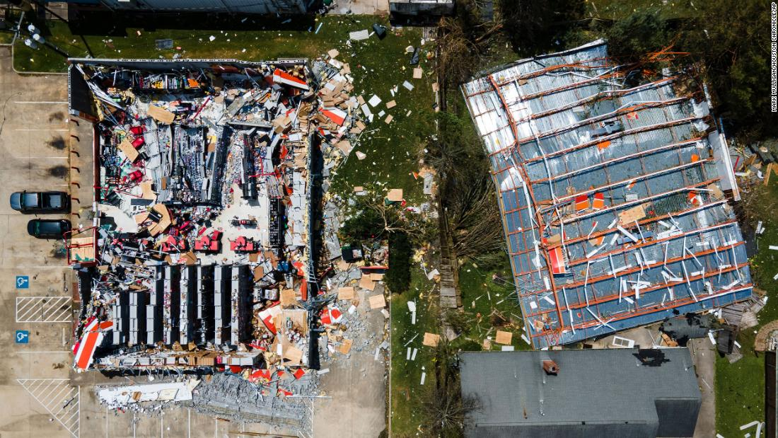 This aerial photo shows the roof blown off an AutoZone store in Lake Charles on August 27.