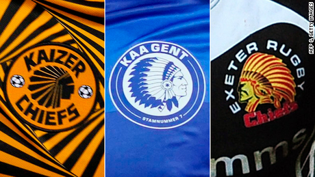 The logos of soccer teams Kaizer Chiefs in South Africa, KAA Gent in Belgium and rugby team Exeter Chiefs in the UK all have a Native American wearing a headdress.