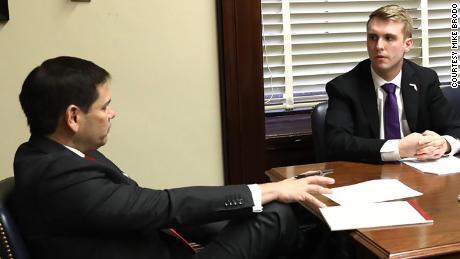 Gen z gop founder Mike Brodo talks with Sen. Marco Rubio