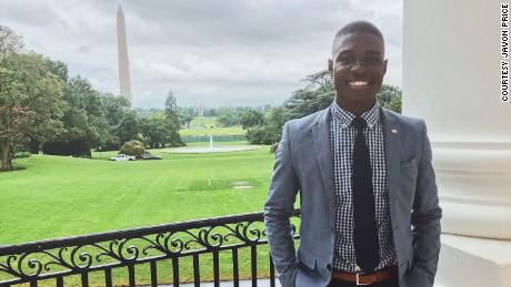 Javon Price stands on the South Lawn of the White House.