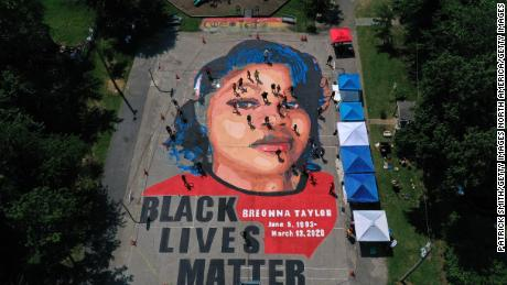 An aerial view of a large-scale ground mural depicting Breonna Taylor in Annapolis, Maryland.