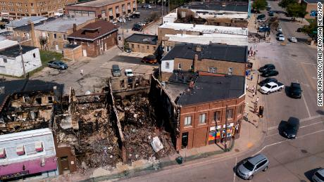 This Aug. 28 aerial photo shows damage to businesses in Kenosha.