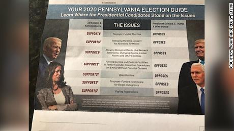 The Pennsylvania mailer includes a series of false claims against Democratic presidential nominee Joe Biden and his running mate Sen. Kamala Harris.