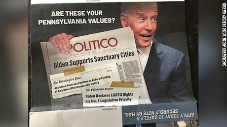 The Pennsylvania mailer also includes a doctored image of Democratic presidential candidate Joe Biden holding a Politico newspaper with a headline that never appeared claiming, falsely, that Biden supports sanctuary cities.