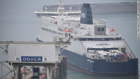 A ferry docks at the port of Dover in southeast England on August 14.