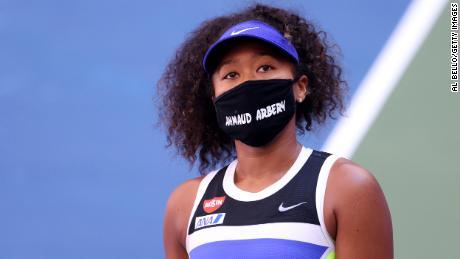 Osaka displays Ahmaud Arbery's name at the US Open.