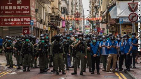 Police patrol in Hong Kong on September 6, 2020 amid protests over the government's decision to postpone elections due to coronavirus, and the national security law.