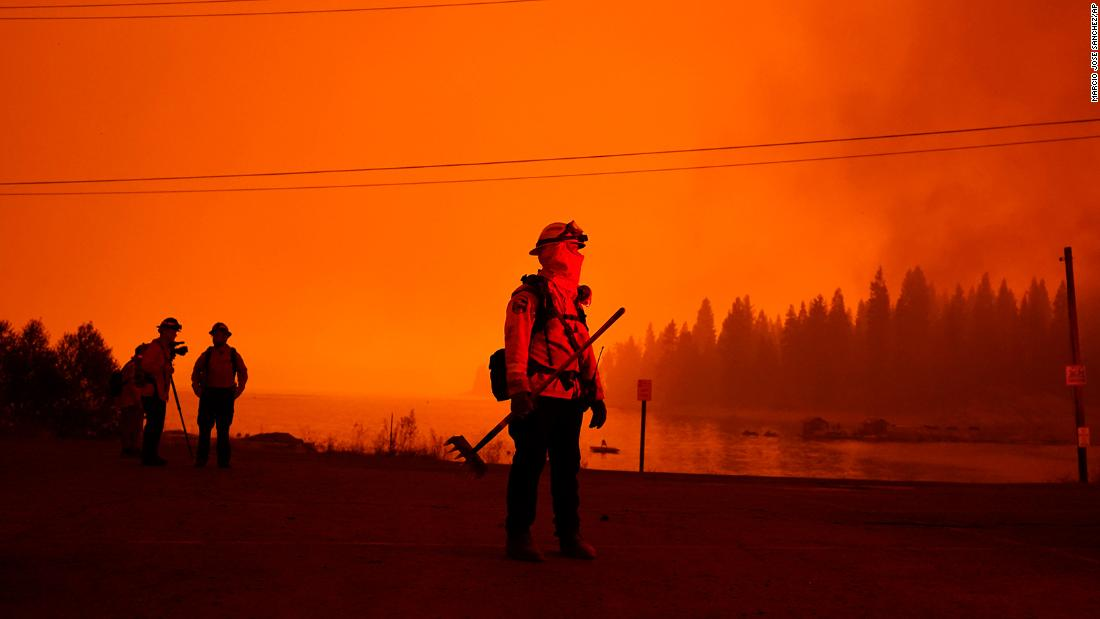 A firefighter watches the advancing Creek Fire in Shaver Lake.