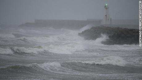 Waves caused by Typhoon Haishen crash on the coast of Shikanoshima island, Fukuoka prefecture, on September 7, 2020.