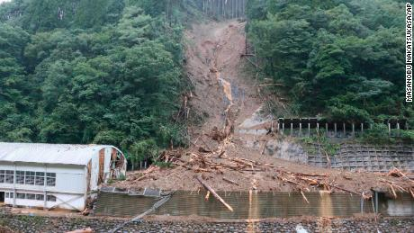 A photo shows the landslide site where four people are missing due to the Typhoon Haishen in Shiiba Village, Miyazaki prefecture, southwestern Japan, on September 7, 2020.