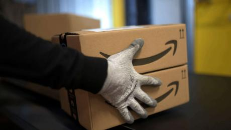 A pair of Amazon packages are pictured in this undated photo.