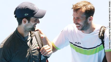 Djokovic with his former coach Radek Stepanek in 2018.