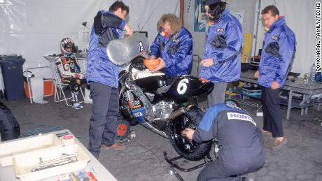 The Tech3 crew refuels a bike at a 1995 race meeting.