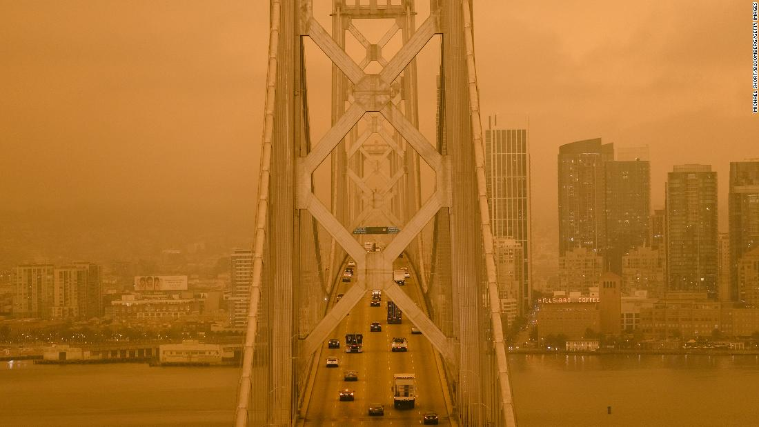 Wildfire smoke hangs over the San Francisco-Oakland Bay Bridge on September 9.