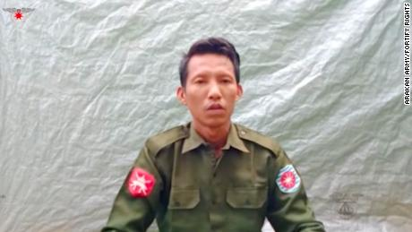 A still image of a video filmed by the Arakan Army in July in which Myanmar Private Myo Win Tun confesses to participating in the mass killing of Rohingya Muslims in 2017.