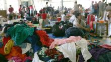 A pile of clothes on the ground at a small Chinese makeshift refugee camp in Honiara on April 21, 2006,   after almost 90 percent of Chinatown was burnt down during rioting.