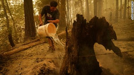 Erik Tucker pours water on a smoldering stump outside his Lyons, Oregon, home Saturday.
