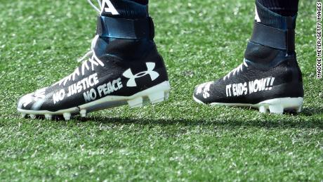 The cleats worn by Cam Newton of the New England Patriots before the game between the Patriots and the Miami Dolphins at Gillette Stadium on Sunday, September 13.