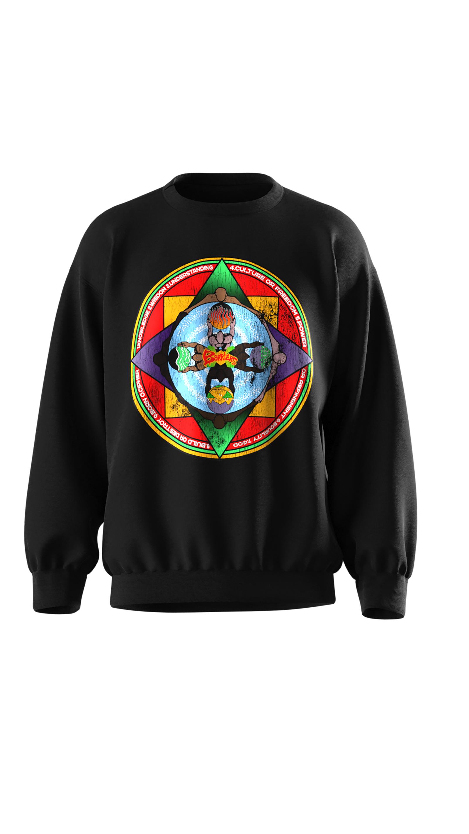A sweatshirt designed by streetwear brand Barriers Worldwide