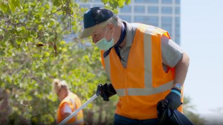 Edward Bidwell helps keep San Diego clean as a member of Wheels of Change's workforce. The organization plans to employ some 5,200 homeless people this year to clean up litter.