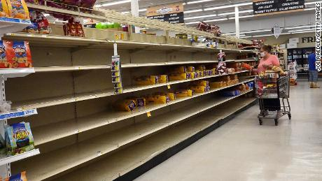 Shelves were emptied by people storm prepping ahead of Sally in Alabama.