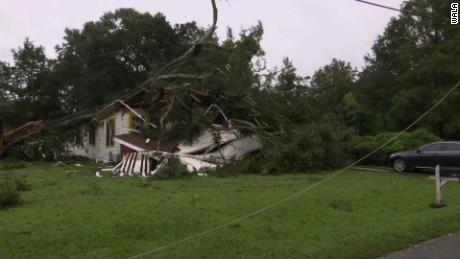 A tree rests on a crushed home Wednesday in the Mobile area.