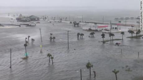 Flooding in Navarre Beach, Florida.