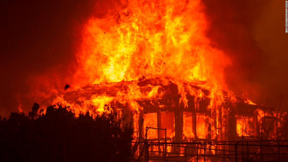 A Juniper Hills home burns during the Bobcat Fire on September 18.