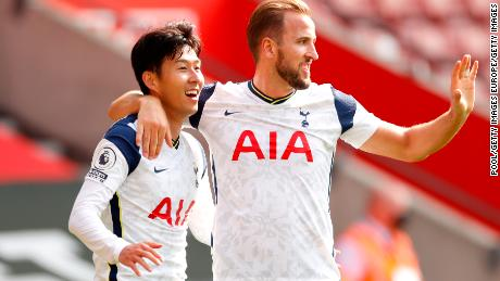 Son Heung-min  of Tottenham Hotspur celebrates with teammate Harry Kane after completing his hat-trick in the 5-2 win over Southampton.