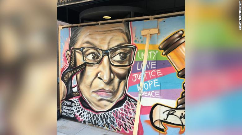 Two artists came up with a creative way to honor Ruth Bader Ginsburg: a mural in the justice's memory