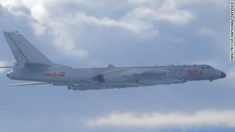 Taiwan Defense Ministry photo shows an Chinese People's Liberation Army Air Force H-6 bomber intercepted by Taiwanese fighters on Friday.