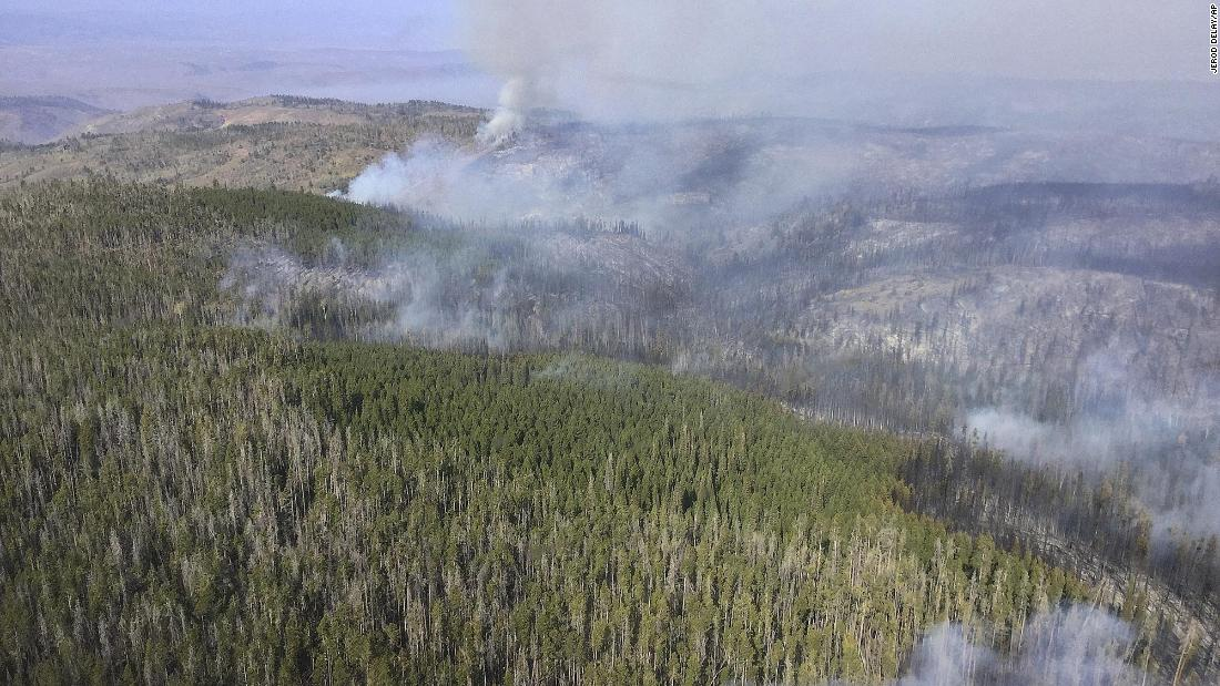 Wildfire smoke rises in Medicine Bow National Forest in southeastern Wyoming on September 21.