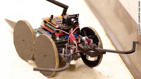 Roboticists designed this robot, called a Mini-Wheg, to mimic the walking behavior of a cockroach.