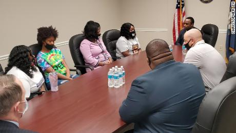 Kentucky Attorney General Daniel Cameron meets with Breonna Taylor's family in August.