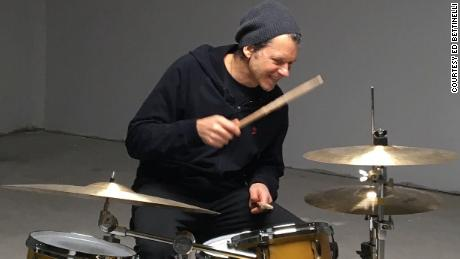 Ed Bettinelli is back on the drums at his home in Dobbs Ferry, New York.