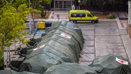 Military tents erected for hospital patients at the Gomez Ulla military hospital in Madrid, Spain, on Friday.