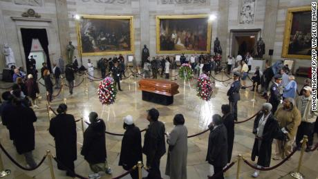 Rosa Parks lies in honor in the Capitol Rotunda in 2005