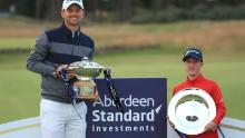 Lawlor poses with the EDGA Scottish Open trophy after winning it alongside Bernd Wiesberger who won the Aberdeen Standard Investments Scottish Open.