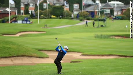 Lawlor plays his second shot on the 9th hole during day two of the UK Championship at The Belfry.