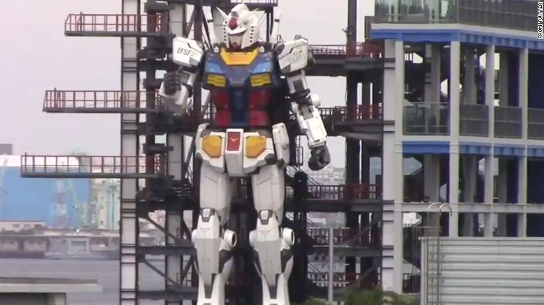 Japanese giant Gundam robot shows off its moves