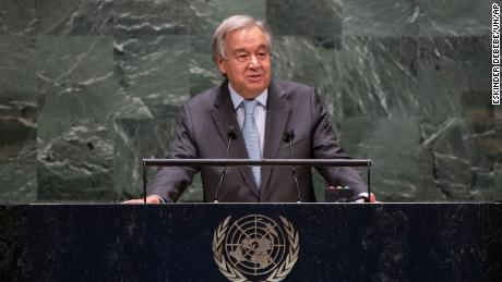 Guterres speaks during the 75th session of the United Nations General Assembly, 화요일, 씨족. 22, 2020.