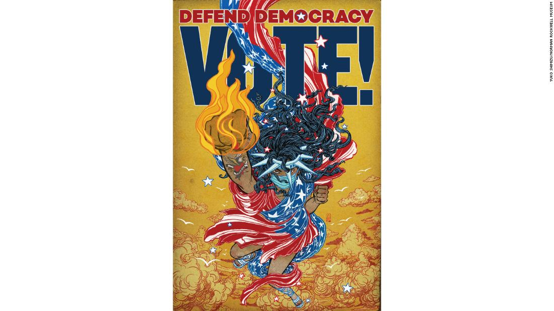 "Yuko Shimizu, ""Defend Democracy (Lady Liberty)&인용;"