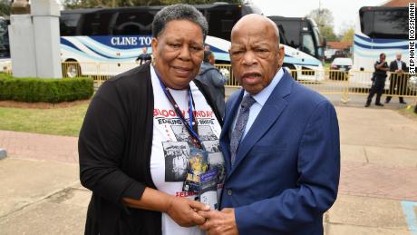 Joanne Bland with John Lewis in Selma, Alabama in 2019. (Credit: Stephane Kossmann)