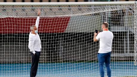 Jose Mourinho gets his picture taken with the small goal.